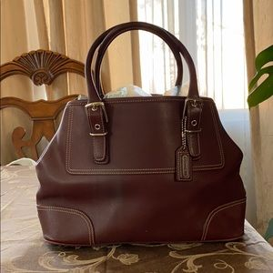 Burgundy Coach tote bag